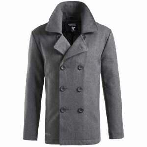 Surplus Vintage Mens US Navy Pea Coat Double Breasted Wool Warm Winter Jacket