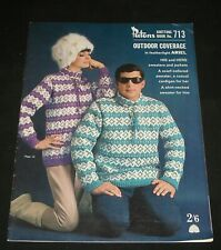 VINTAGE 1960s PATONS  KNITTING BOOK #713 ADULTS OUTDOORS JUMPERS