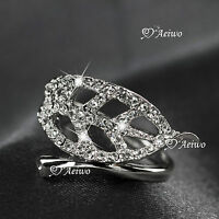 18K WHITE GOLD FILLED MADE WITH SWAROVSKI CRYSTAL LEAF RING ELEGANT