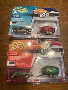Johnny Lightning Tow & Go Lot (2) 1:64 2003 Ford F-250 Super Cab Barrel NICE 🎁