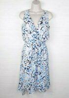 ROBERT LOUIS Dress White Medium Black/Blue Floral Print V-Neck Sleeveless