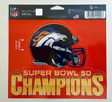 "Denver Broncos Super Bowl 50 Champions 5"" x 6"" Multi Use Decal Reusable NFL"