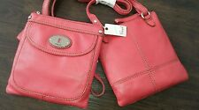 SL3129656 NEW FOSSIL Small Crossbody Genuine Pink Leather Hand Bag Zip top £74