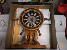 Nautical Marine Ships Maritime Clock Boat Steering Wheel Wood Desk Mantel Knots