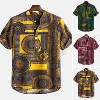 Sommer Herren Kurzarm T Shirt V Neck Bluse Tops Print Freizeit Hemd Shirts Bluse
