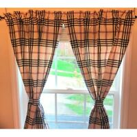 Chesterfield Check Curtain Panels Cream - Black - Red