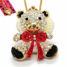Hot Red Crystal Lovely Big Bow Bear Baby Betsey Johnson Sweater Chain Necklace