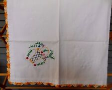 Vintage Hand Stitched Embroidered Floral Table Cloth With Crocheted Trim Edge