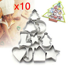 Christmas Set of 10 Metal Cookie Cutters Star Tree Bell Angel Candy Cane Biscuit