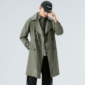 Mens Spring Autumn Coat Mid-length Japanese Style solid color Trench Coat Jacket