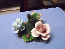 Vintage Candle Holder Nuova Capodimonte Porcelain Floral Blue Yellow Pink Italy!