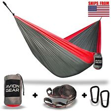 Double Portable Hammock with Included Loop Lock Tree Straps - Red