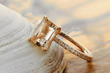 Noori 14k Rose Gold Morganite Solitaire Emerald-cut Engagement Ring