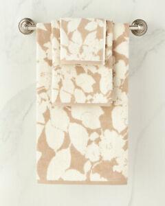 NEW Lauren Ralph Lauren 4 PC SET Sanders Floral Bath Hand Towel Tan Beige White
