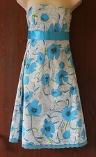 Jane Norman strapless white floral dress size 8