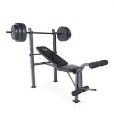 Weight Bench Set CAP Barbell Deluxe With 100Lb Weights Lifting Bar Press Workout