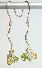 "Gem Cluster Drop Earrings 4.5 Carats SF Earwires 1.75"" x 1/2""  Handmade"