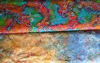Baumwollstoff (€20/m²) 0,3 m Batik bestickt mit Pailetten 1,5 m breit