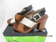 New Sam Edelman Ivy Leather Block Heel Sandals Tan /Gold/ Black size 7 M