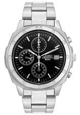 Seiko Chronograph SND191 SND191P1 Men Black Dial Stainless Steel Watch