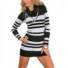 Damen Pullover Longpullover mit Rollkragen Rolli langarm Streifen Design Gr. 36