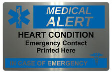 357 HEART CONDITION Case of Emergency Medical Alert Metal Card Custom Printed