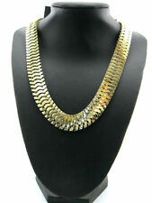Goth biker style gold coloured snake chain necklace / Choker