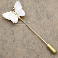 Art Nouveau Shell Butterfly Gold Lapel Brooch Tie Hat Scarf Stick Pin Badge
