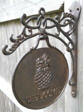 Iron Pineapple Welcome Plaque Rustic Sign Swivels Pineapples Welcome Signs Gifts