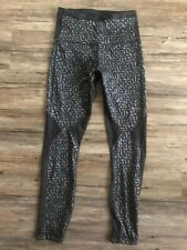 LULULEMON Leggings Tech Mesh WUNDER UNDER BLACK HIGH RISE  PANTS  Size 4 Gym EUC