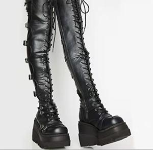Women Punk Platform Wedge over knee Boots Buckle Round Toe Knight Goth Heel Shoe