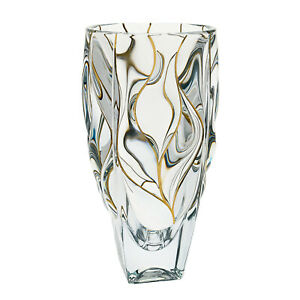 Modern Bohemian Crystal Hand-Crafted Decorative 12 Inches Vase, Gold Strips