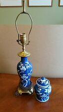 Matching Oriental Porcelain Lamp and Lidded Jar, Blue & White Prunus design