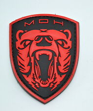 RED GRIZZLY MEDAL OF HONOR 3D PVC MORALE PATCH MOH HOOK PROJECT HONOR TACTICAL