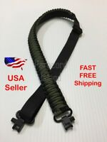 NEW OD Green & Black Adjustable 550LB Paracord Rifle Gun Sling Strap w/ Swivels
