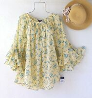 New~$60~Lemon Yellow & Aqua Blue Peasant Blouse Ruffle Boho Top~Size Large L