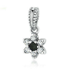 black European Silver CZ Charm Beads Fit sterling 925 Necklace Bracelet Chain