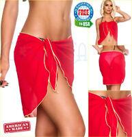 Coqueta Chiffon Wrap Bikini Pareo Cover up Bathing Suit Sarong Ladies Short Red