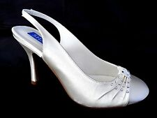 SHADES LADIES WINTER WHITE SATIN WEDDING BRIDAL HEELS COURT SHOES UK 5 - EU 38