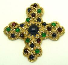 JOMAZ Mohgul 'Jewels Of India' Ruby, Sapphire, Emerald Cross Brooch Pendant
