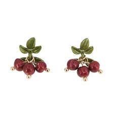 Boucles d'oreilles CLIP ON Doré Feuille Vert Perle Culture Teint Rouge Retro J15