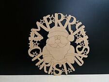 Mdf Christmas Santa Wreath circle 21cm x 21cm