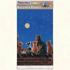 "FIDDLER'S ELBOW ""Cats Under Full Moon"" K28 Kitchen Towel~22″X32″ Cotton Pique~"