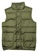 LANDS END Men's Down Puffer Vest Olive Green Small S
