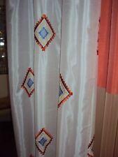 2 Vorhänge Gardinen Deko Schal weiß Raute bunt Stickerei Kräuselband B/H 140x225
