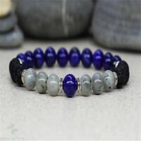 8mm Lapis Lazuli Volcanic Moonstone Stone Bracelet 7.5 Inches Ruyi Wrist Lucky