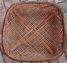 VINTAGE WOVEN BAMBOO RATTAN SQUARE WINNOWING GATHERING BASKET WALL DECOR