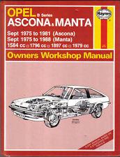 Opel Ascona & Manta B Sept 1975-88 1584 1796 1897 1979cc Haynes Workshop Manual