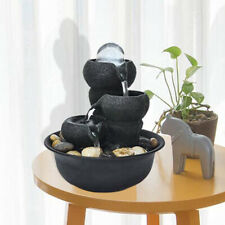 8 inch 3-Floor Indoor Tabletop Water Fountain Feng Shui Fountain with LED