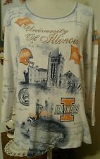 University of Illinois Womens XL Top White Blue Orange 3/4 Sleeve U of I Sparkle